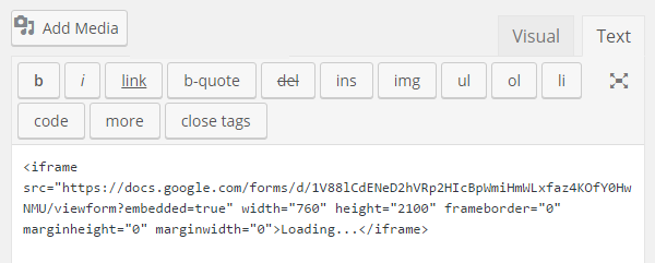 GoogleフォームをWordPressに埋め込む